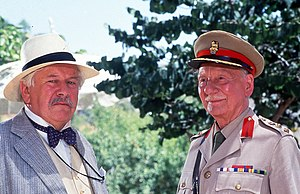 Peter Ustinov -  Ustinov (left) as Hercule Poirot with John Gielgud in Appointment with Death (1988)