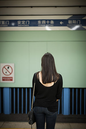 Long hair - A woman with mid-back level hair