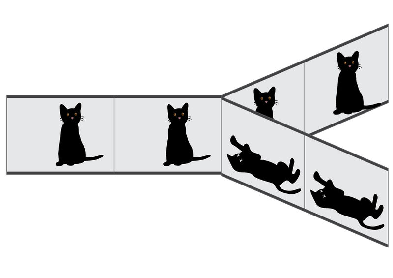 File:다세계해석.jpg Description English: 다세계 해석에서는 산 고양이, 죽은 고양이는 서로 다른 세계에서 현실화 된다. 이 다른 두 세계의 가중치를 비교할 수 없으며 두 세계는 상호작용할 수 없다. Date9 December 2012, 10:02:11 SourceOwn work AuthorJool1018