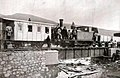 0-6-0 locomotive 'MELILLA' (ex 'LA SERRANA' of Ferrocarril de Monterrubio ) built by Avonside in 1900 with carriage of CEMR (Compañía Española Minas del Rif) on Sidi-Muse railway (ca 1923).jpg