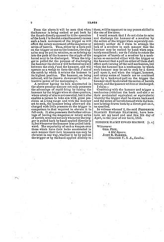Beaumont–Adams revolver - Image: 003 beaumont 1856patent