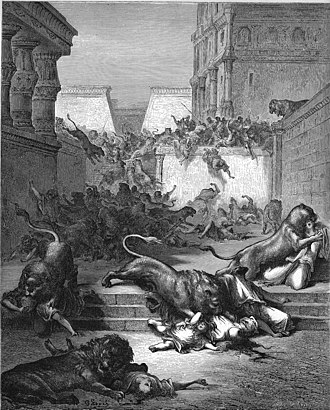 Samaritans - Foreigners eaten by lions in Samaria, illustration by Gustave Doré from the 1866 La Sainte Bible, The Holy Bible