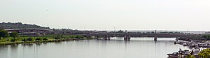 11th Street Bridges - Panorama of the completed 11th Street Bridges. To the left are the flyovers and underpasses which make up the Suitland Parkway/D.C. Route 295 (Anacostia Freeway) interchange.