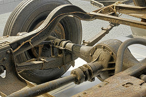 Drive shaft - Škoda 422 rear axle, suspension and drive shaft on display at the Škoda Museum