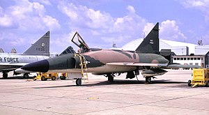 146th Air Refueling Squadron - F-102A 56-1361 in Vietnam War jungle camouflage motif, 1968