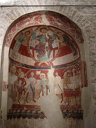 Thomas Becket - St Thomas Becket's consecration, death and burial, at wall paintings in Santa Maria de Terrassa (Terrassa, Catalonia, Spain), romanesque frescoes, c. 1200