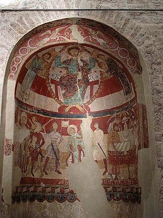 Thomas Becket - St Thomas Becket's consecration, death and burial, at wall paintings in Santa Maria de Terrassa (Terrassa, Catalonia, Spain), romanesque frescoes, c. 1200