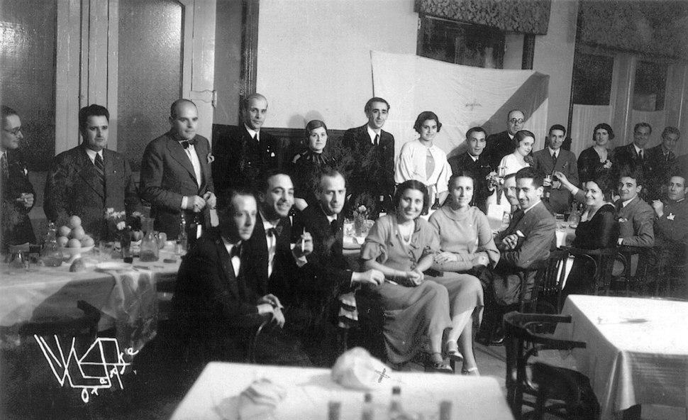 16-6-1933, Hotel Miño, Ourense, VRisco RIllaCouto LeuterGonzález ÁCunqueiro EDocet MLuísAcuña OPedrayo BlancoAmor XLRamosColemán RVázquezMonxardín AVázquezMonxardín MPeñaRei XoséGoyanes...