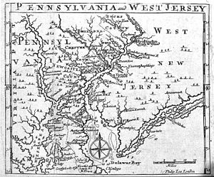 West Jersey - 1698 map showing West Jersey and Pennsylvania