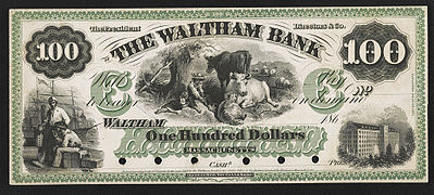 1862 Waltham Bank one hundred dollar private bank note proof USA LC