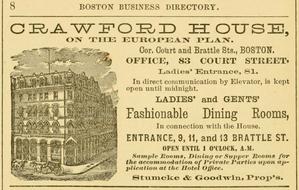 Crawford House (Boston, Massachusetts) - Image: 1879 Crawford House Boston Business Directory