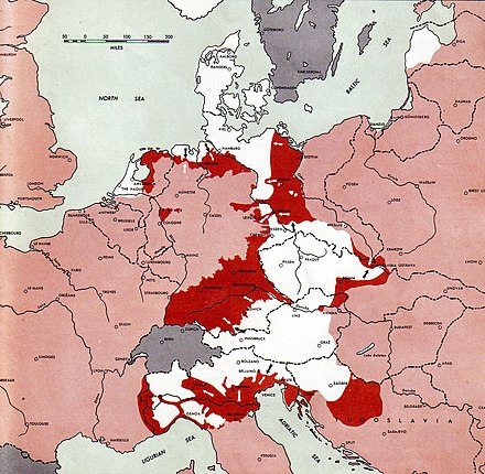 Situation of World War II in Europe at the time of Hitler's death. The white areas were controlled by Nazi forces, the pink areas were controlled by the Allies, and the red areas indicate recent Allied advances. 1945-05-01GerWW2BattlefrontAtlas.jpg