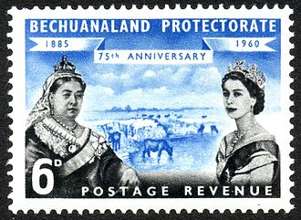 Protectorate - 1960 stamp of Bechuanaland Protectorate with the portraits of Queen Victoria and Queen Elizabeth II