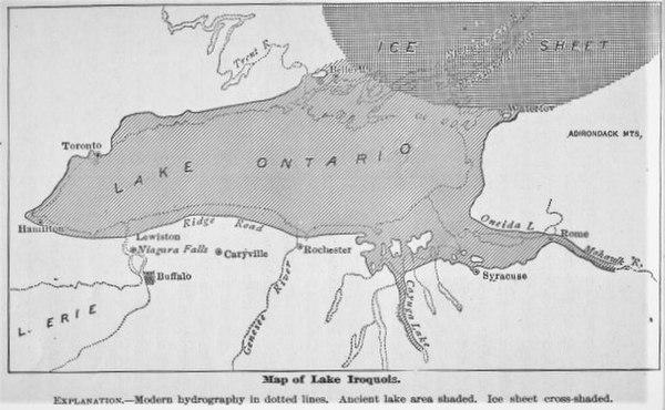 19th century estimate of the boundaries of Lake Iroquois
