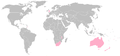 2006 Commonwealth Games netball competing countries map.png