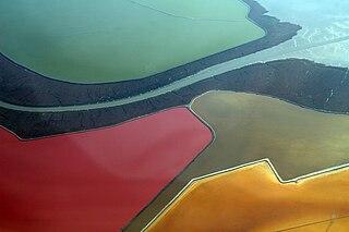 San Francisco Bay Salt Ponds Salt evaporation ponds in the San Francisco Bay in California