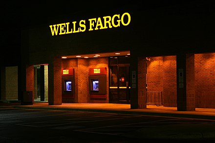 A former Wachovia branch converted to Wells Fargo in the fall of 2011 in Durham, North Carolina 2011-11-22 Wells Fargo ATMs lit at night.jpg