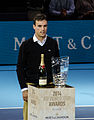 2014-11-12 2014 ATP World Tour Finals Roberto Bautista Agut receiving trophy for Most Improved Player 2014 by Michael Frey.jpg