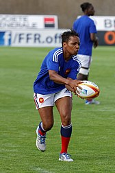 Sandrine Agricole playing in the 2014 Women's Rugby World Cup