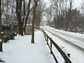 2016-02-15 09 11 46 View west along a snow-covered Thompson Road (Virginia State Secondary Route 669) in the Franklin Glen section of Chantilly, Fairfax County, Virginia.jpg