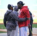 2016-10-10 Rajai Davis and David Ortiz before game 06.jpg