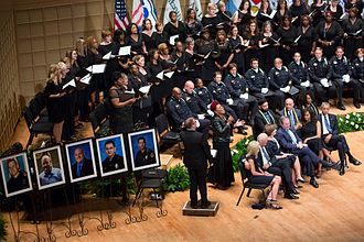 2016 shooting of Dallas police officers - Memorial service for the five police officers killed in the shooting.