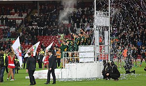 2016 Rugby League Four Nations - Australia celebrate beating the Kiwis at Anfield