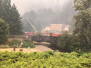 Eagle Creek Fire - Multnomah Falls Lodge surrounded by smoke, September 5