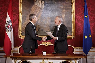 Minister (Austria) - President Alexander Van der Bellen swearing in Hartwig Löger, minister of finance in the Kurz government