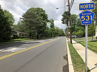 County Route 531 (New Jersey) - View north along CR 531 (Park Avenue) at Plainfield Road in Edison