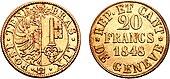 Moneta ginevrina da 20 franchi del 1848.