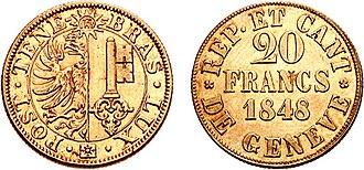 Geneva franc - Coat of arms.  POST TENEBRAS LUX