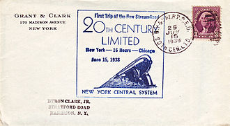 20th Century Limited - Cover carried in the RPO of the first streamlined New York-Chicago run, June 15, 1938