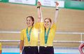 211000 - Cycling track Tania Modra Sarnya Parker gold medal podium - 3b - 2000 Sydney medal photo.jpg