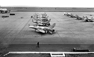 831st Air Division - F-100s on the ramp at George AFB
