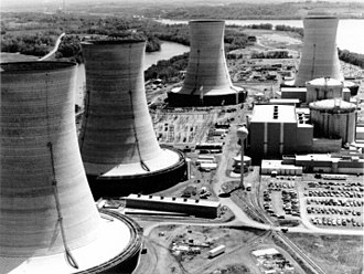 Nuclear meltdown - Three Mile Island Nuclear Generating Station consisted of two pressurized water reactors manufactured by Babcock & Wilcox, each inside its own containment building and connected cooling towers. Unit 2, which suffered a partial core melt, is in the background.