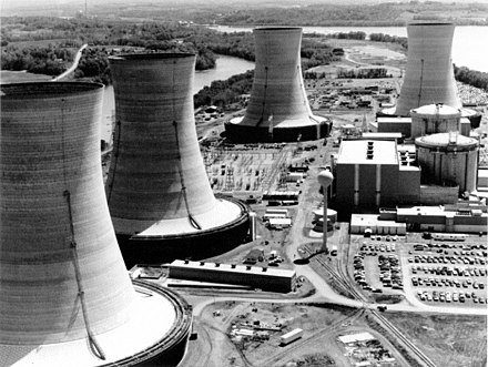 Three Mile Island Nuclear Generating Station consisted of two pressurized water reactors manufactured by Babcock & Wilcox. TMI-2, which suffered a partial meltdown, is in the background. 3MileIsland.jpg
