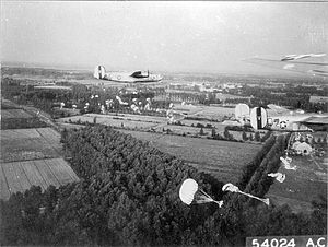 RAF Shipdham - Consolidated B-24 Liberators of the 44th Bomb Group on a parachute drop.