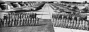 No. 64 Squadron RAF - Personnel of 64 Squadron in front of their Gloster Javelin FAW.7 at RAF Duxford in 1959.