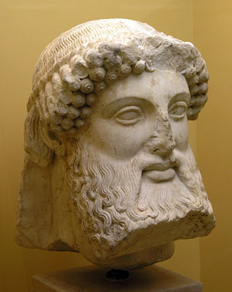 Herma - Archaic bearded head of Hermes from a herm, early 5th century BC.