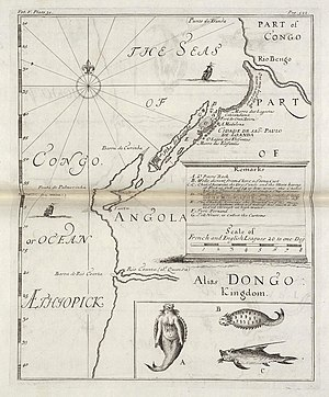 Awnsham Churchill - Map of 1732 of the coast of Angola, from the Collection of Voyages and Travels by Awnsham and John Churchill