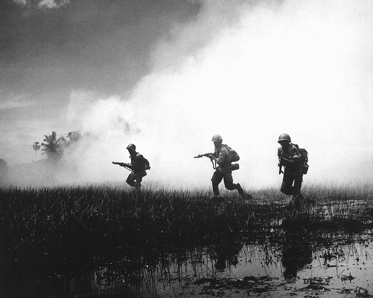 Crack troops of the Vietnamese Army in combat operations against the Communist Viet Cong guerillas. Marshy terrain of the delta country makes their job of rooting out terrorists hazardous and extremely difficult