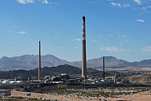 These talls smokestacks at Asarco's El Paso Smeltertown site were brought down in 2013. ASARCO El Paso.jpg
