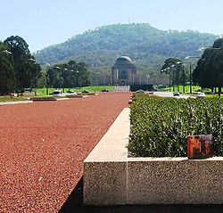 Looking along Anzac Parade to the War Memorial at the foot of Mount Ainslie