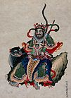 A Chinese deity with sword accompanied by a tiger. Gouache Wellcome V0047141.jpg