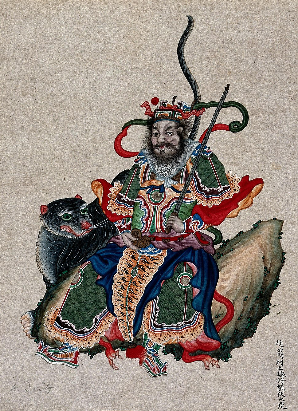A Chinese deity with sword accompanied by a tiger. Gouache Wellcome V0047141