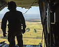 A U.S. Air Force C-130 Hercules aircraft drops a low-cost, low-altitude bundle containing rice during the final airdrop of exercise Cope South 14 over Bangladesh Nov. 13, 2013 131113-F-ZZ999-052.jpg