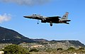 A U.S. Air Force F-15E Strike Eagle aircraft assigned to the 494th Expeditionary Fighter Squadron takes off from Souda Air Base, Greece, during a flying training deployment with the Hellenic Air Force Feb. 27 140227-F-MY082-528.jpg