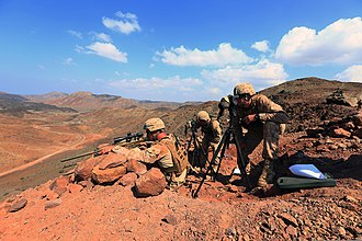 1st Battalion, 4th Marines - Marine takes aim at a target during a sustainment training exercise in Djibouti, 2013