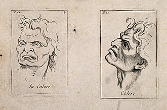 Anger - A drawing of faces expressing anger.